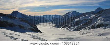 Aletsch Glacier And High Mountains, View From The Jungfraujoch