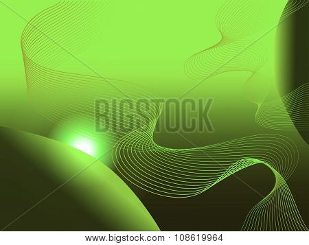 Modern Planetary Abstract Green Background With Helix Spiral Lines And Sun