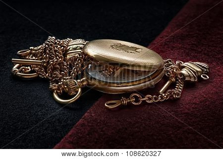 Still Life With Antique Golden Watch