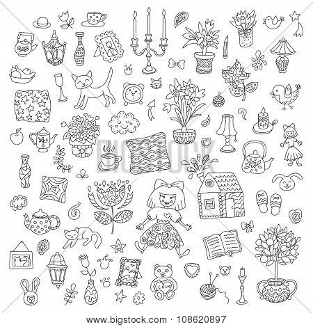 Home Sweet Home. Set Of Hand Drawn Vector Home Interior Doodles.