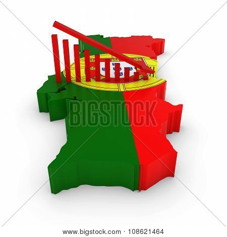 Portuguese Economic Decline Concept Image - Downward Sloping Graph On 3D Outline Of Portugal Texture
