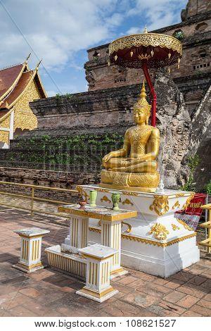 Buddha Statue At Wat Chedi Luang Worawihan, Chiang  Mai