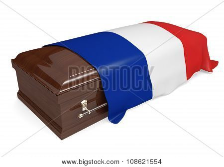 Coffin covered with the national flag of France