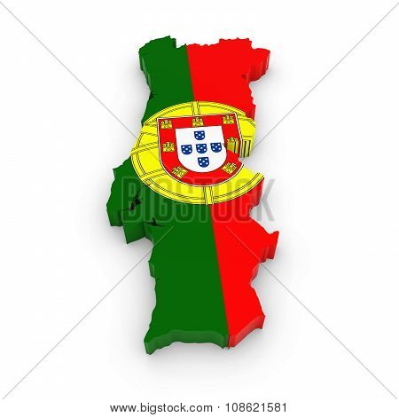 3D Outline Of Portugal Textured With The Portuguese Flag