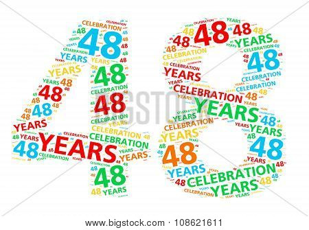 Colorful word cloud for celebrating a 48 year birthday or anniversary