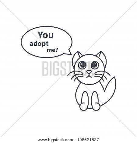 Adoptable kitten line icon