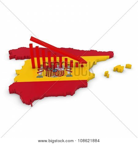 Spanish Economic Decline Concept Image - Downward Sloping Graph On 3D Outline Of Spain Textured With