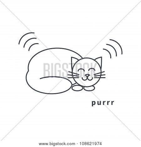 Purring cat line icon