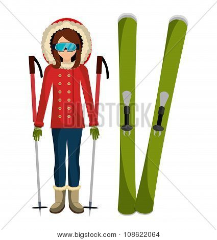 Woman and skis