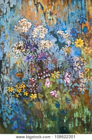 Original abstract oil painting of Polish flowers.