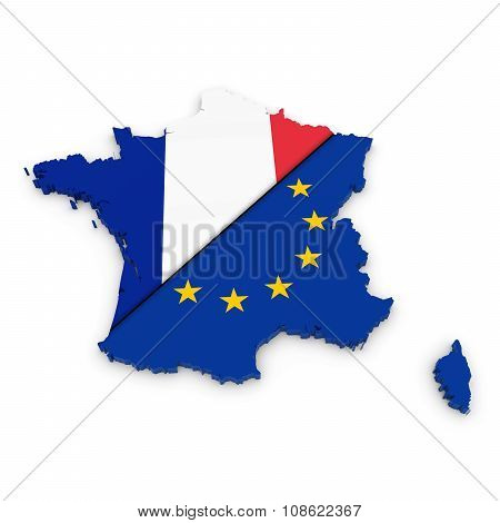 French And European Union Relations Concept Image - 3D Outline Of France Textured With Mix Of French