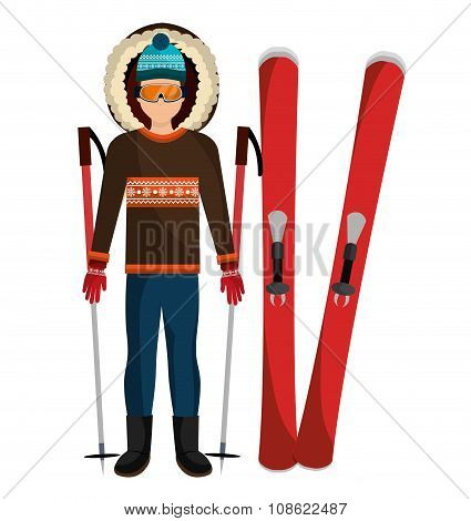 Man in winter clothes and ski accesories