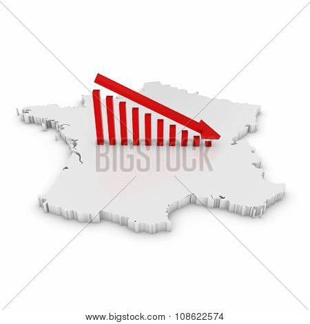 French Economic Decline Concept Image - Downward Sloping Graph On White 3D Outline Of France