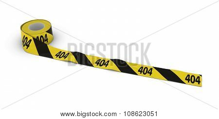 404 Page Not Found Tape Roll Unrolled Across White Floor