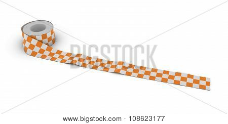 Orange And White Checkered Barrier Tape Roll Unrolled Across White Floor