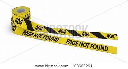 404 And Page Not Found Tape Rolls Unrolled Across White Floor