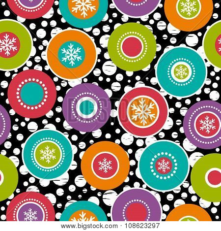 Seamless Background With Snowflakes And Colour Rings, Vector