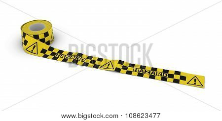 Exclamation Mark Symbol Hazard Tape Roll Unrolled Across White Floor