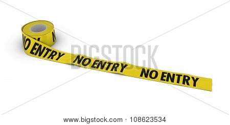 No Entry Tape Roll Unrolled Across White Floor