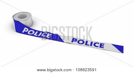 Blue And White Police Tape Roll Unrolled Across White Floor