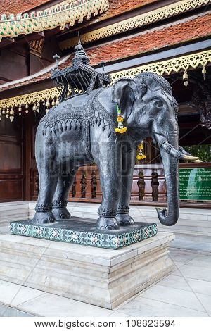 Statue Of Elephant At Wat Phrathat Doi Suthep, Chiang  Mai