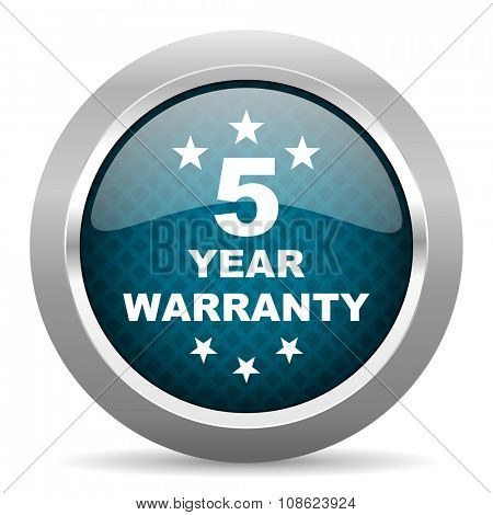 warranty guarantee 5 year blue silver chrome border icon on white background