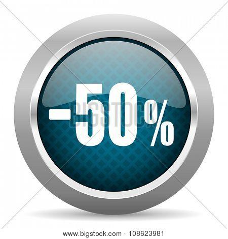 50 percent sale retail blue silver chrome border icon on white background
