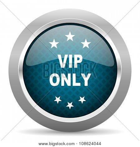 vip only blue silver chrome border icon on white background
