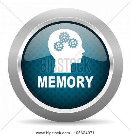 memory blue silver chrome border icon on white background