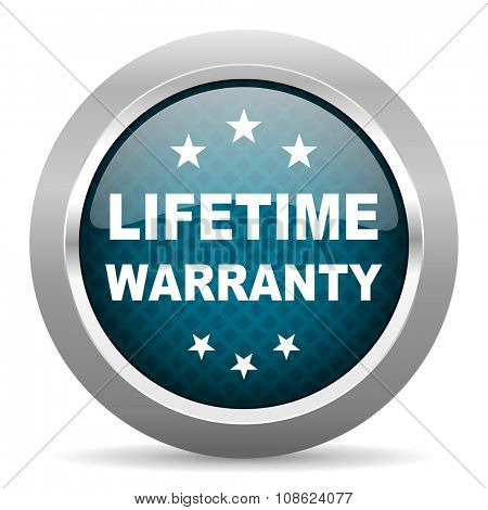 lifetime warranty blue silver chrome border icon on white background