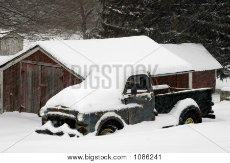 50's Pick-Up Truck In Snow