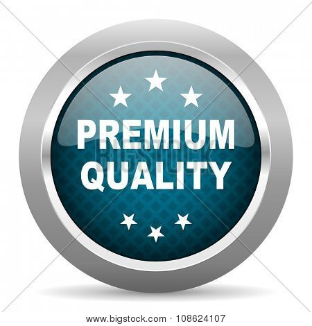 premium quality blue silver chrome border icon on white background
