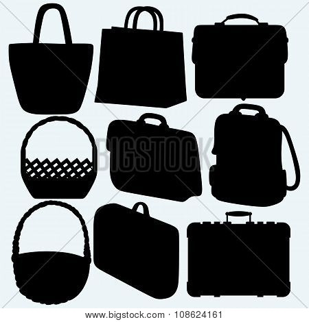 Different types of bags and baskets