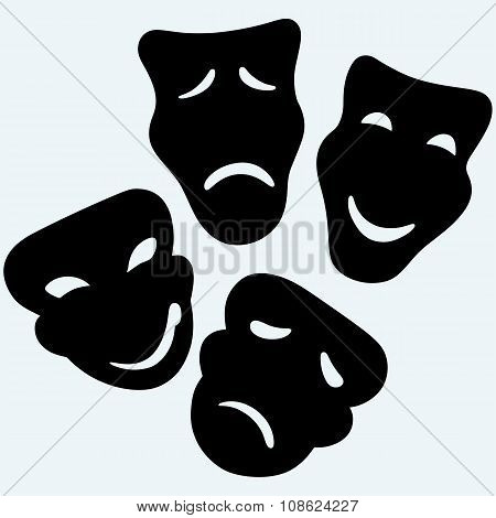 Theater icon with happy and sad masks