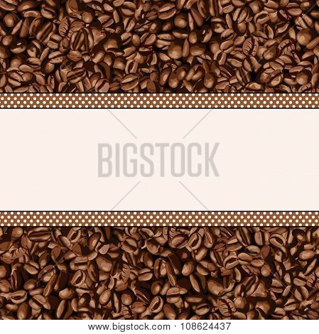 Coffee bean background with blank banner