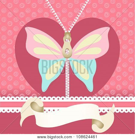 Romantic background with butterfly illustration