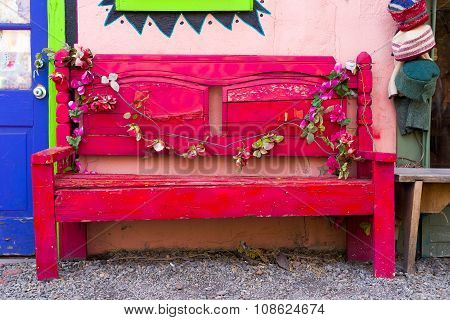 Antique Wooden Bench In New Mexico