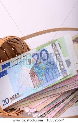 European Money On Wooden Basket