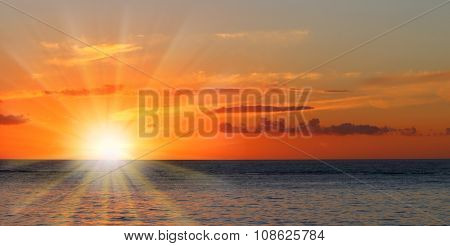 Beautiful sunset over Indian Ocean from Mauritius Island.