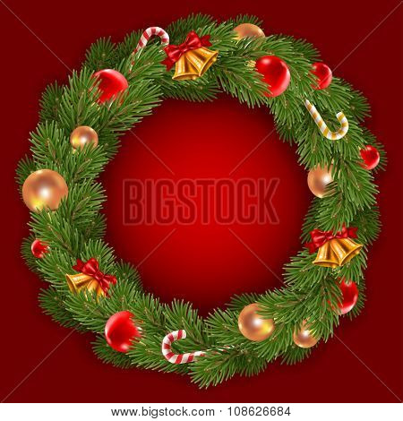Fluffy Christmas wreath with fir-tree branches and christmas decorations on dark red background. Red and golden christmas balls, jingle bells and candy canes. Vector illustration.