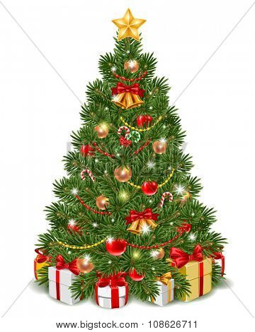 Fluffy Christmas tree decorated by christmas balls, jingle bells and candy cane. Gift boxes are under the fir-tree. Isolated on white background. Vector illustration.