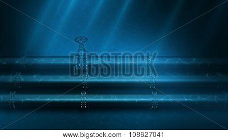 3d Illustration of oil pipeline lying on ocean bottom under water