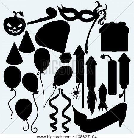 Festive set: balloon, rocket fireworks, gift box, pumpkin, mask for masquerade costumes