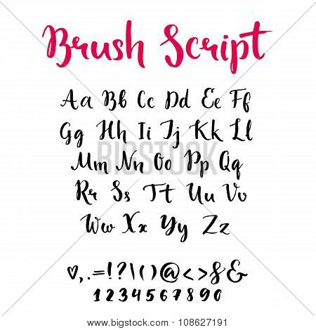 Brush script with lowercase and uppercase letters, keystrokes and digits. Full alphabet handwritten