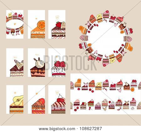 Templates with different  fruit cake slices. Different taste and color.