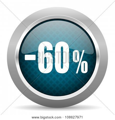 60 percent sale retail blue silver chrome border icon on white background