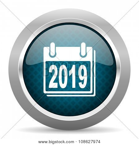 new year 2019 blue silver chrome border icon on white background
