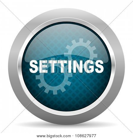 settings blue silver chrome border icon on white background