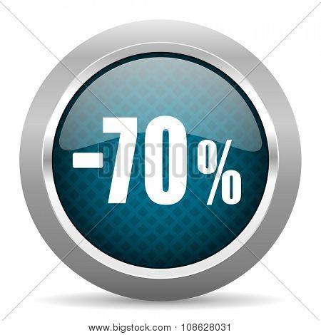70 percent sale retail blue silver chrome border icon on white background