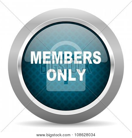 members only blue silver chrome border icon on white background